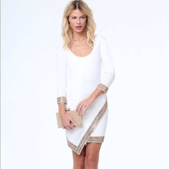 74225fb30 bebe Dresses | Embellished Wrap Hem Dress | Poshmark